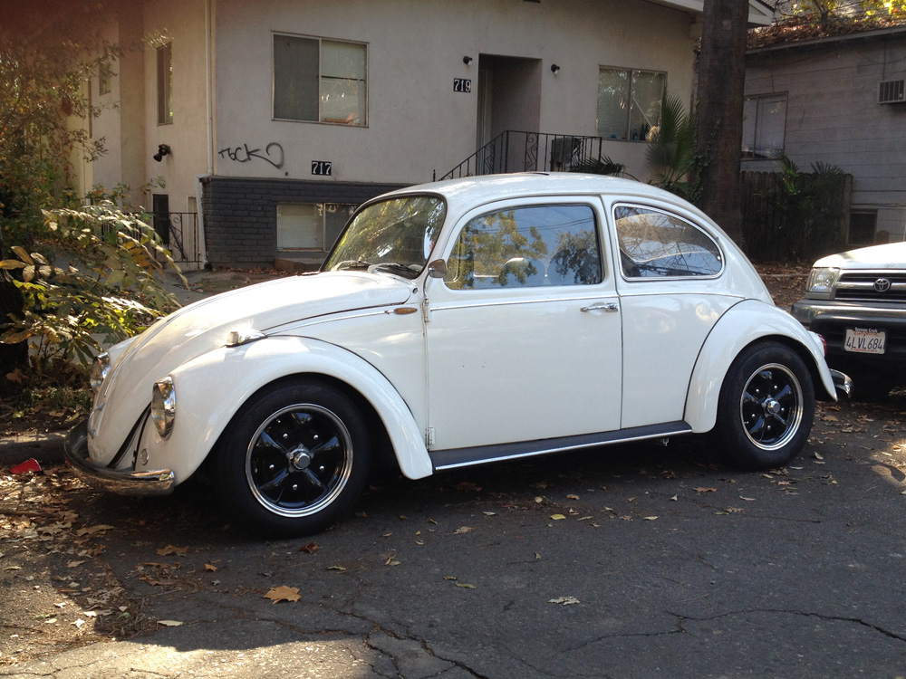White VW Beetle - Chico, CA.